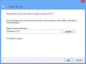 Create Windows 8 shutdown shortcut