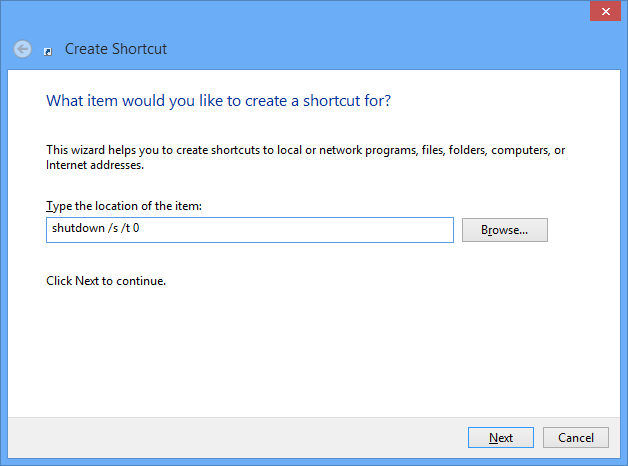 Create Windows 8 shutdown shortcut