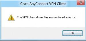 vpn client driver error