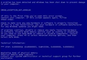 Blue-Screen-KMODE_EXCEPTION_NOT_HANDLED