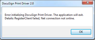 docusign print driver error