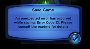 fix the sims save game error