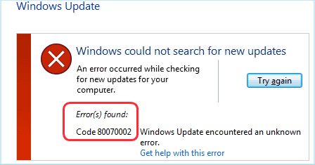 error code 0x80070002