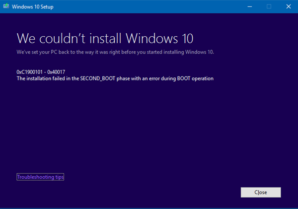 Windows upgrade error codes 0xC1900101 fix