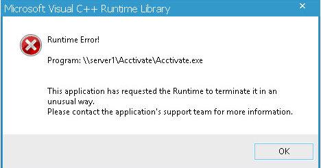 visual c runtime error