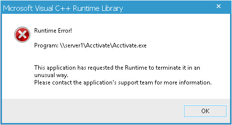 visual c runtime error