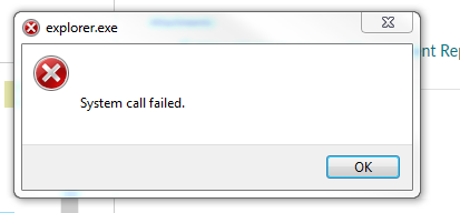 explorer.exe system call failed error