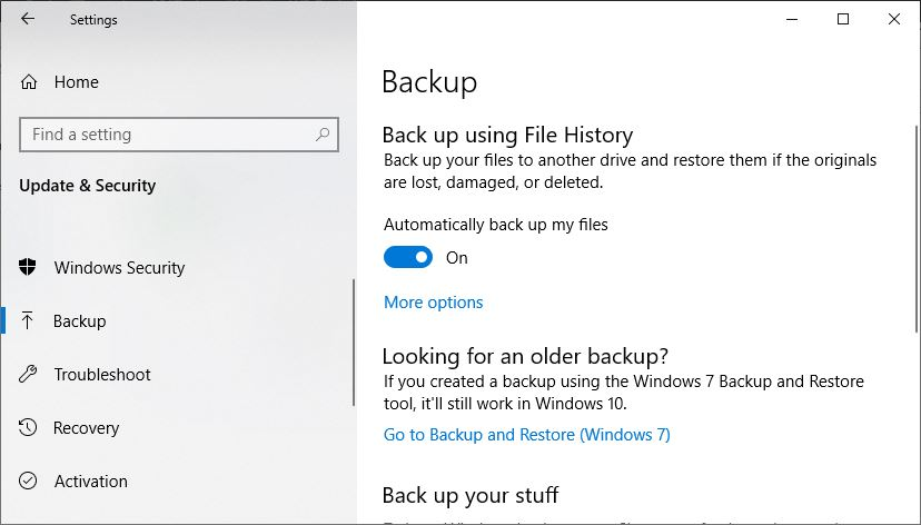 Back up files Windows 10