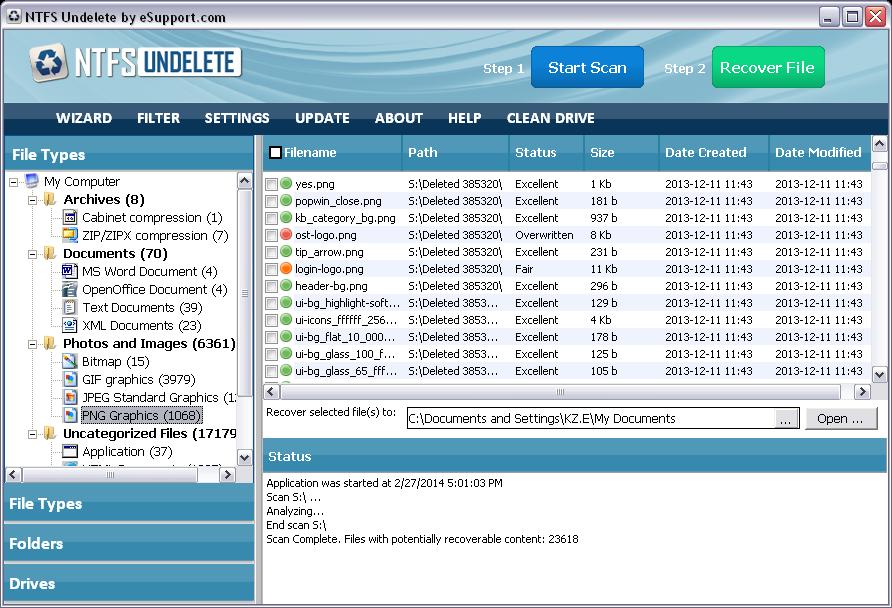 NTFS Undelete results